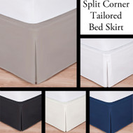 "Luxury Hotel Bed Skirt: Tailored Pleat, Queen Size, 14"" Drop, White, Ivory, Navy, Mocha and Black"