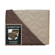 3-Piece Pinsonic Bed Quilt and Sham Set: Full/Queen Size, Brown and Taupe