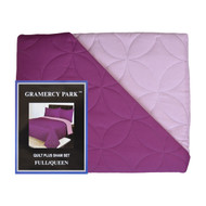 3-Piece Pinsonic Bed Quilt and Sham Set: Full/Queen Size, Dark Magenta and Pink