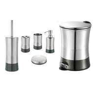 Graphite Gray 6 Piece Bathroom Accessory Set: Stainless Steel, Trash Bin, Toilet Brush, Toothbrush Holder, Tumbler, Soap Dish and Dispenser