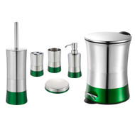 Emerald Green 6 Piece Bathroom Accessory Set: Stainless Steel, Trash Bin, Toilet Brush, Toothbrush Holder, Tumbler, Soap Dish and Dispenser