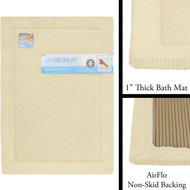 "Linen Memory Foam Bath Mat: 17"" x 24"", AirFLO Fast Drying Non-Skid Backing, 1"" Thick"