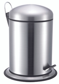 Stainless Steel Pedal Trash Can/Bin: Dome Lid, Round, Satin Finish, 5 Liters