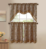 3 Piece Beige and Gold Double Layer Leaf Embroidered Kitchen Window Curtain Set with Valance