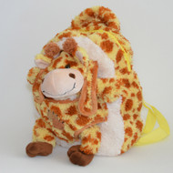 Kids Yellow and Brown Plush Zipper Backpack and Giraffe in Pouch