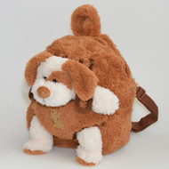 Kids Brown Plush Zipper Backpack and Stuffed Cream Puppy in Pouch