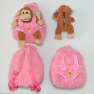 Kids Pink Plush Zipper Backpack and Stuffed Brown Monkey in Pouch