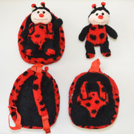 Kids Red and Black Plush Zipper Backpack and Lady Bug Toy in Pouch