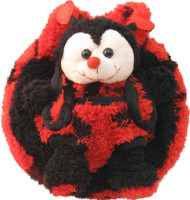 Kid's/Children's Plush Animal Purse with Stuffed Toy in Velcro Pouch: Red and Black Ladybug