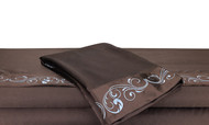 Queen Chocolate Silky Soft Satin Bed Sheet Set: Blue Scroll Embroidered Design