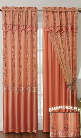 """Orange Two Piece Window Curtain Drapery Sheer Panel w/ Attached Backing and Valance 57""""x90"""" each"""