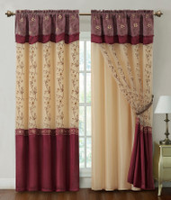 "Burgundy Two Piece Window Curtain Drapery Sheer Panel w/ Attached Backing and Valance 57""x90"" each"