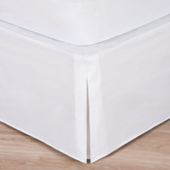 """White Luxury Hotel Bed Skirt: Tailored Pleat, 14"""" Drop"""