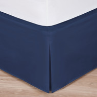 "Navy Luxury Hotel Bed Skirt: Tailored Pleat, 14"" Drop"