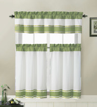 Sage and White 3 Piece Kitchen Window Treatment Set with Pintuck Accent Stripes Including 2 Tier Panel Curtains and 1 Valance