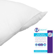 EZ-Dream Queen Size Zippered Pillow Protector: Velvet Touch, Soft Microfiber
