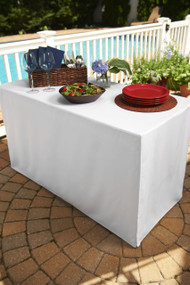 White Folding Table Tablecloth: Heavy Fabric, Split-Corners, To-the-Floor Length