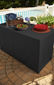 Black Folding Table Tablecloth: Heavy Fabric, Split Corners, To-the-Floor Length