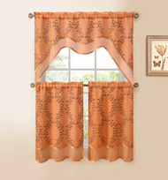 Orange 3-Pc Kitchen Window Curtain Set: Two-Layer Sheer, Vine Embroidery