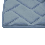 "BLUE Memory Foam Bath Mat Rug: 20"" x 30"", Brick Design, Soft, Non Slip Backing"