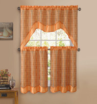 Orange 3-Pc Kitchen Window Curtain Set: Double-Layer, 2 Tiers, 1 Valance