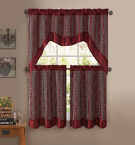 Burgundy 3-Pc Kitchen Window Curtain Set: Double-Layer, 2 Tiers, 1 Valance