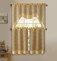 Gold 3-Pc Kitchen Window Curtain Set: Double-Layer, 2 Tiers, 1 Valance