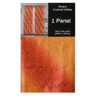 "Rust Crushed Taffeta Window Curtain Panel: 55""W x 90""L, Diagonal Ombre Design, Gold and Rust"