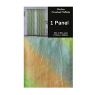 "Lime Green Crushed Taffeta Window Curtain Panel: 55""W x 90""L, Diagonal Ombre Design, Lime, Gold and Turquoise"