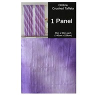 "Purple Crushed Taffeta Window Curtain Panel: 55""W x 90""L, Diagonal Ombre Design, Lilac, Plum and Lavender"