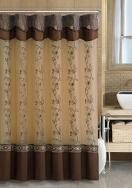Chocolate Brown Two-Layered Embroidered Fabric Shower Curtain with Attached Valance