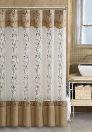 Off-White and Gold Two-Layered Embroidered Fabric Shower Curtain with Attached Valance