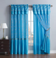 "Blue Two Piece Window Curtain Drapery Sheer Panel w/ Attached Backing and Valance 57""x90"" each"