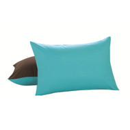 2 Piece Reversible Pillow Case Shams: Standard/Queen, Chocolate and Turquoise