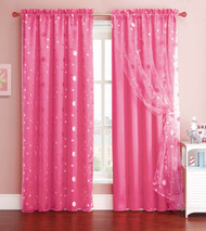 Pink Window Curtain Panel with Circle Design Sheer Top Layer: 55in x 90in