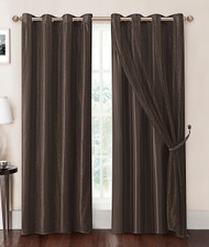 Chocolate Brown Double-Layer Window Curtain Panel with Sheer/Mesh Top and Metal Grommets: 55in x 90in