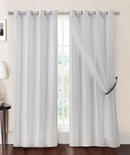 White Double-Layer Window Curtain Panel with Sheer/Mesh Top and Metal Grommets: 55in x 90in