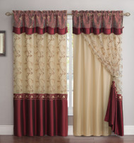 "All-in-One Burgundy Window Curtain Drapery Panel: Double-Layer, Solid Color Back with Embroidered Sheer Top and Valance, 55""x90"""