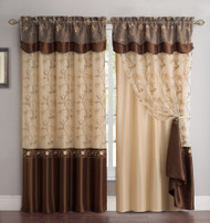 """2 Panel Window Curtain Drapery Panel Set: Double-Layer, Solid Color Back with Embroidered Sheer Top and Valance, 110""""x90"""", Chocolate"""