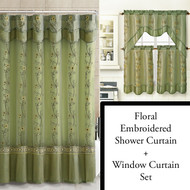 Sage Shower Curtain, Window Curtain Bathroom Decor Set with Flower Embroidered Double Layers and Valance