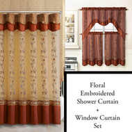 Cinnamon Shower Curtain, Window Curtain Bathroom Decor Set with Flower Embroidered Double Layers and Valance