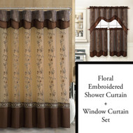 Chocolate Brown Shower Curtain, Window Curtain Bathroom Decor Set with Flower Embroidered Double Layers and Valance