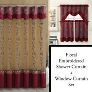 Burgundy Shower Curtain, Window Curtain Bathroom Decor Set with Flower Embroidered Double Layers and Valance