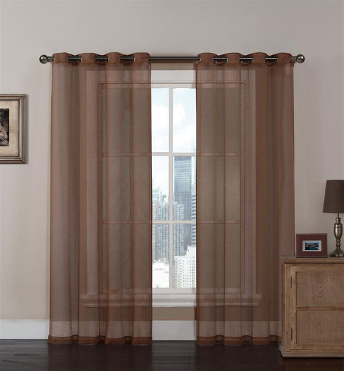Cinnamon Sheer Textured Window Curtain Panel 2 Pc Set with Grommets