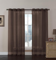 Chocolate Brown Sheer Textured Window Curtain Panel 2 Pc Set with Grommets