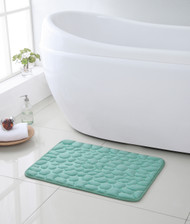 Blue Memory Foam Bath Mat: Pebble Design