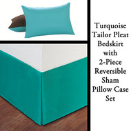 Turquoise Bed Skirt with 2-Piece Reversible Sham Pillow Case Set