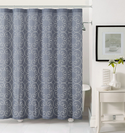 slate gray fabric shower curtain white circle swirl