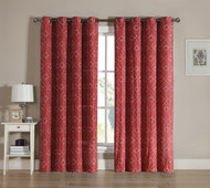 Red Grommet Window Curtain 2 Pc Set: White Swirl Design Embroidery | bathroomandmore