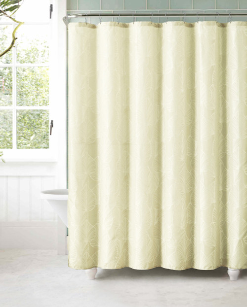 Marvelous Ivory Jacquard Fabric Shower Curtain: White Textured Leaf Design